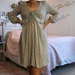 a white and grey striped American Eagle dress